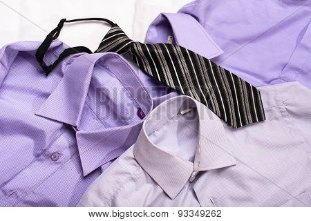 Three Generic Shirt With A Line Pattern And Tie, Closeup