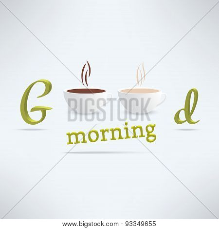 Vector good morning coffee background with cups and lettering. Cafe banner design