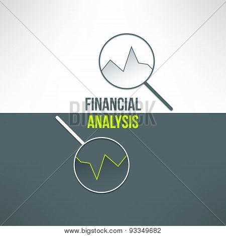 Vector graph with magnifying glass in modern flat design. Financial analysis background suitable for