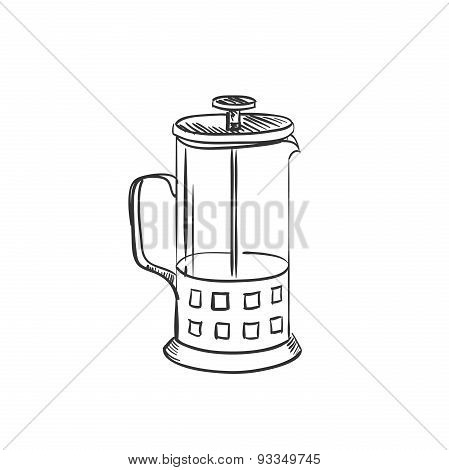 doodle coffee french press pot