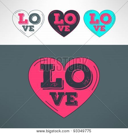 Vector hearts set for tshirt print design. Love grunged text inside heart