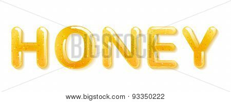 Yellow honey jelly word. Glossy letters.