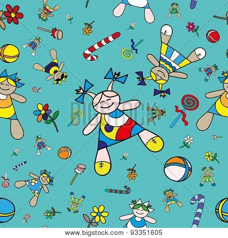 Dolls Vector Seamless Background