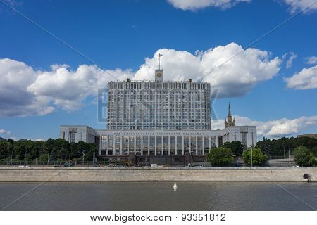 Moscow- June 06,2015: The House Of Russian Federation Government Or White House In Moscow. Built Fro