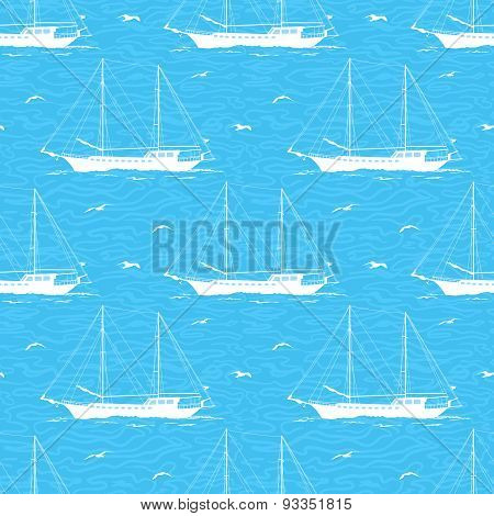 Seamless background, sailboats and waves