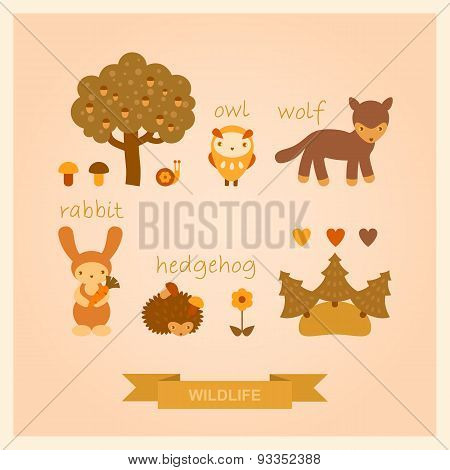 vector set of images of wolf, owl, hedgehog, rabbit and trees
