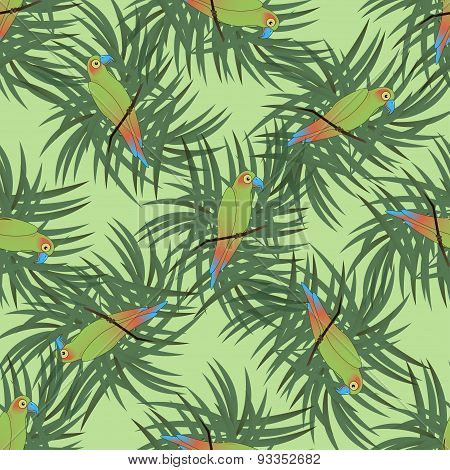 Seamless pattern with colourful parrot