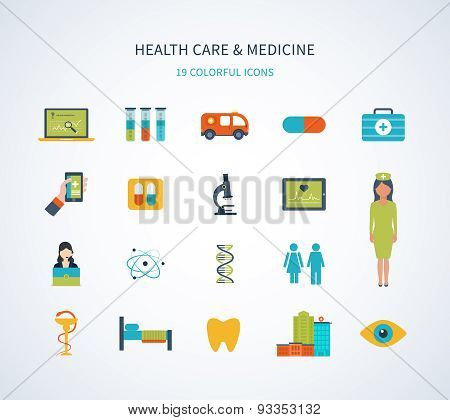 Flat design modern vector illustration concept for healthcare, medical help, medical center and hosp