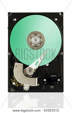 Green Harddisk Drive On White Isolated Background With Clipping Path.