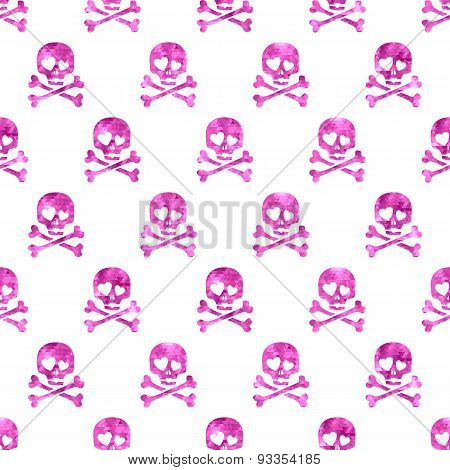 Pink glitter skulls in love seamless pattern.