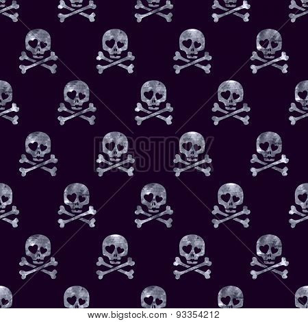 Silver glitter skulls in love seamless pattern.