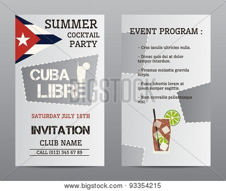 Summer Cocktail Party Flyer Layout Template With Cuba Flag And Cuba Libre Cocktail. Fresh Modern Ice