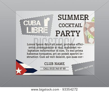 Summer Cocktail Party Poster Layout Template With Cuba Flag And Cuba Libre Cocktail. Fresh Modern Ic