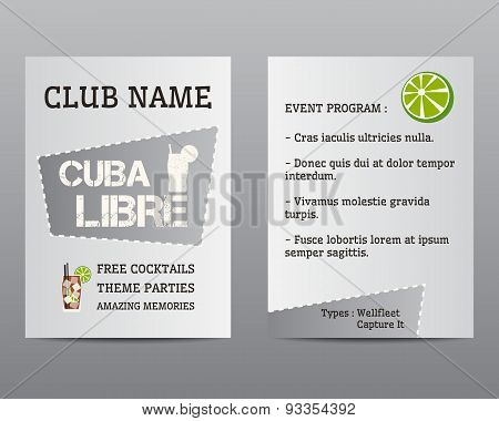 Summer Cocktail Party Flyer Invitation Template With Cuba Libre Cocktail And Lime. Modern Ice Design