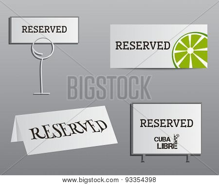 Reservation Sign Mock Up Template. Summer Cocktail Party With Cuba Libre Cocktail. Fresh Modern Ice