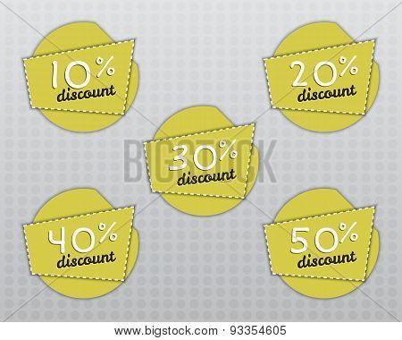Sale Stickers And Labels With Sale Up To 10 - 50 Percent Text On Yellow Circle Stickers And Labels.