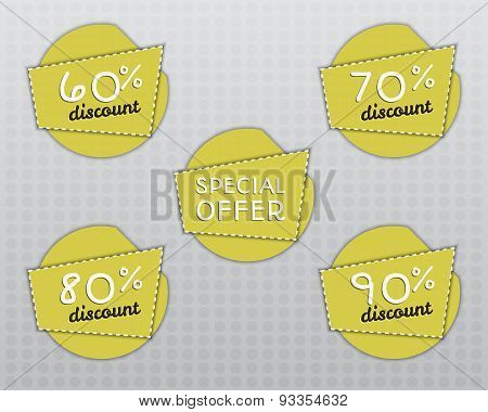 Sale Stickers And Labels With Sale Up To 60 - 90 Percent Text On Yellow Circle Stickers And Labels.