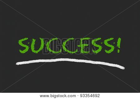 Success Green Script On A Black Blackboard