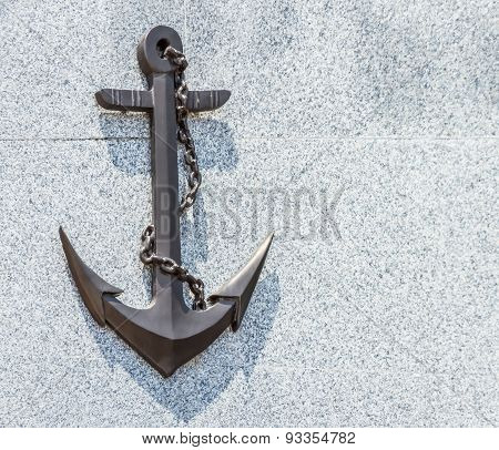 The Anchor On Stone Background.