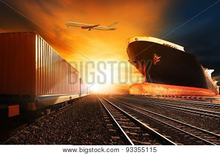 Container Trains ,commercial Ship On Port Freight Cargo Plane Flying Above Use For Logistic And Tran