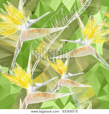 Seamless background with blooming Bird of Paradise flowers in triangles style