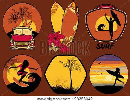 Set of Surfing Design beach and ocean style badges and emblems