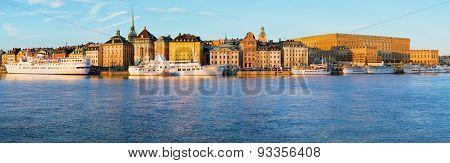 Stockholm waterfront panorama.