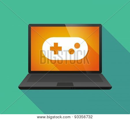 Laptop Icon With A Game Pad