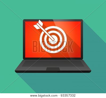 Laptop Icon With A Dart Board