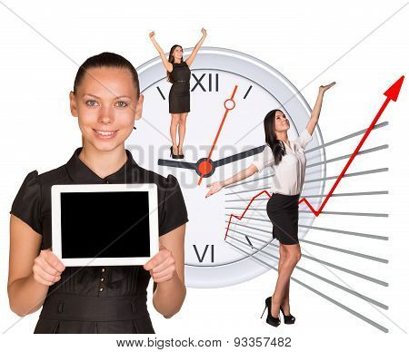 Businesswomen in different postures