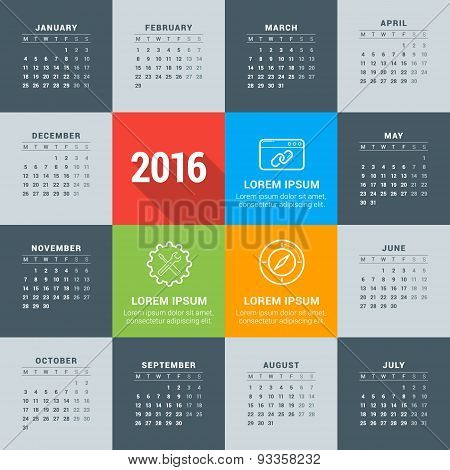 Vector Design Template. Calendar 2016. Week Starts Monday