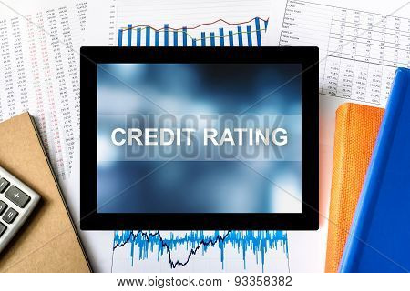 Credit Rating Word On Tablet