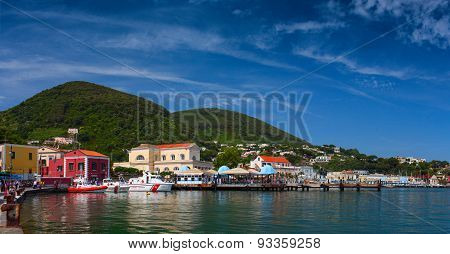 Panoramic view of the Port of Ischia Island. Italy