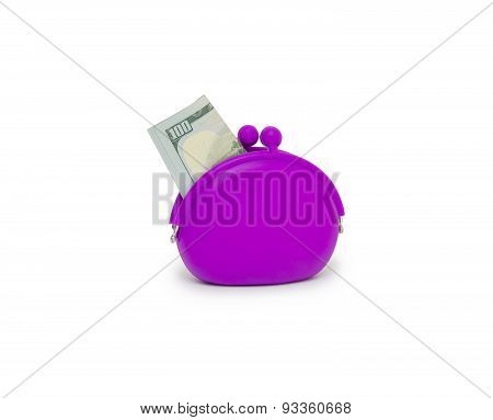 Purse With Hundred Dollar Banknotes Isolated On White Background Cutout