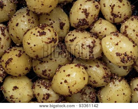 Rustic Boiled Potato In Mustard Food Background