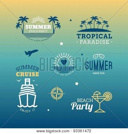 Set Of Vector Design Elements. Retro Summer Holidays Vintage Labels