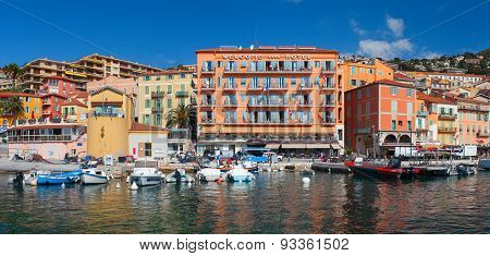 Colorful buildings on the main quay. Villefranche, France