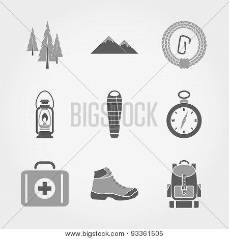 Mountain Camping Icon set.