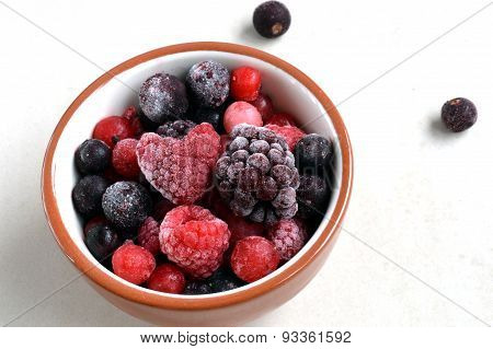 Frozen Berries With Heart-Shaped Raspberry