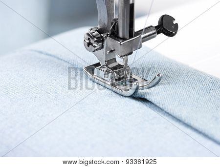 Sewing Machine With Blue Cloth
