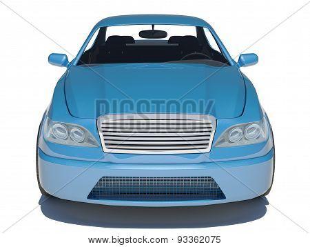Blue car on white