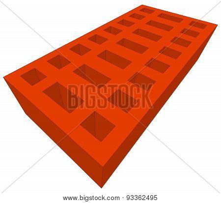 Orange brick on white