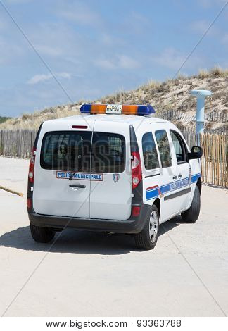 A French Police Car Close To The Beach