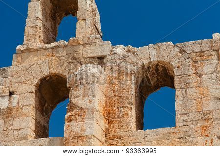 Details of the Odeon of Herodes Atticus. Athens, Greece.