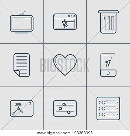 Set Of Modern Vector Thin Line Icons. Tv, Apps, Trash, Document, Favourite, Navigator