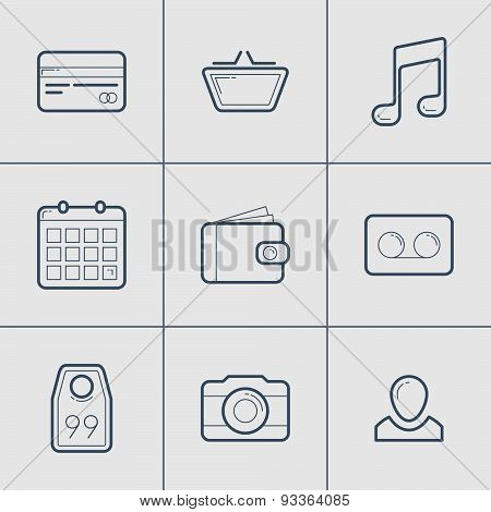 Set Of Modern Vector Thin Line Icons.  Shopping, Camera, Tag, User, Card, Money