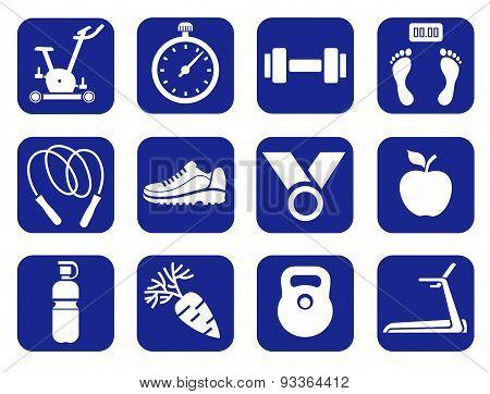 Fitness, Gym, Monochrome Icon...