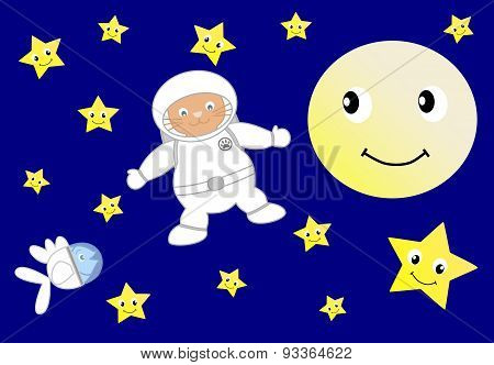 astronaut orange cat with astronaut little blue fish