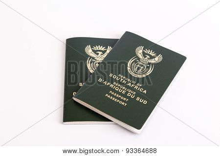 South African Passports On White Background