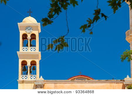 Detail of the old Orthodox Church bell tower. Crete Island, Greece
